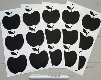 24 Apple Blackboard Vinyl Stickers with white marker