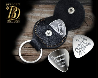 SALE - Personalized Guitar Pick Keychain - Groomsman Gift - Father of the Bride or Groom Gift - Custom Engraved Guitar Pick - Wedding Gift