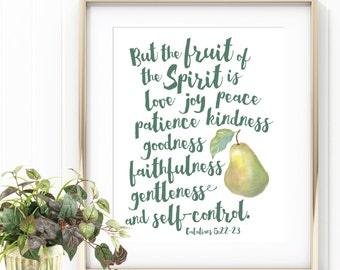 Galatians 5:22-23 Scripture Art, Digital Download, Watercolor Fruit, Kitchen Decor, Affordable Home Decor, Bible Verse, Watercolor Pear