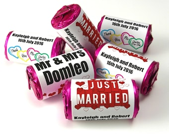 Personalised Love Heart Sweets, Wedding, Favours ( Select from 10 to 100 Rolls) - Staggered Hearts