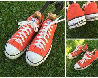 Chuck Taylor Shoes, Orange Chucks, Canvas Shoes, Converse Chuck Taylor All Star Shoes, Orange Sneakers, Converse Sneakers Size 11.5