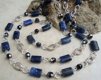 Long Necklace.Denim Lapis Blue Stone.Hematire Crystal.Silver.Lariat.Doubled Strand.Statement.Layering.Bridal.Navy.Beaded.Gift.Handmade.