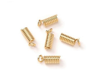 Darice Jewelry Designer 4 x 8mm Crimp Coil Necklace Ends Springs Caps - Gold Tone FN457