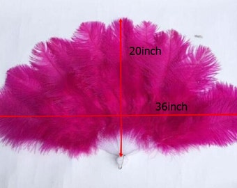 20x36inch Large  Feather Fan Burlesque Dance feather fan Bridal Bouquet Hot Pink