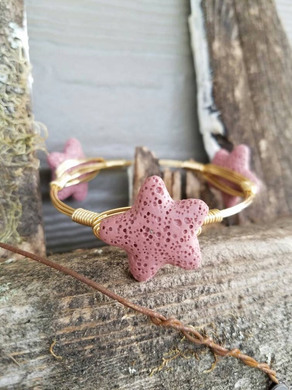 Starfish bangle, beach bangle, lava rock, starfish jewelry, summer jewelry, beach jewelry, stackable bangles,  starfish, vacation, pink