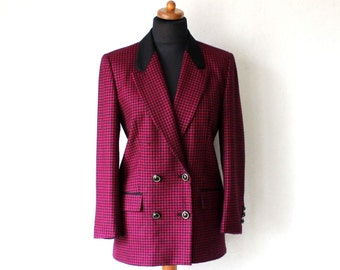 Gerry Weber Women's Double Breasted Wool Blazer Black Pink Gingham Checkered Wool Jacket Medium Size