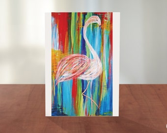 Painted Flamingo Greeting Card