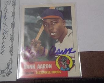 Autographed 1991 Topps Archives 1953 Reprint #317 Hank Aaron w/COA