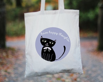 Have Happy Thoughts Cat Tote Bag