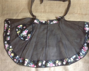 Hostess Apron Black Organza and Polished Cotton Vintage