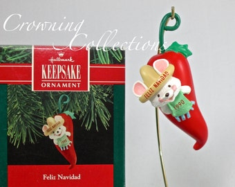 1990 Hallmark Feliz Navidad Keepsake Ornament Mouse in Hot Pepper Southwest Vintage Red Pepper Sombrero