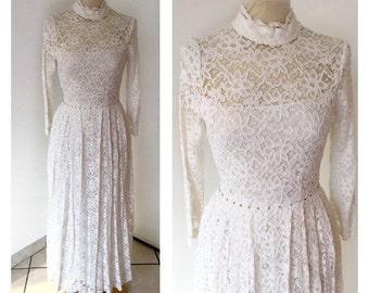 60s Lace Wedding Dress - Macramè Lace Dress - Vintage Wedding Dress Size S