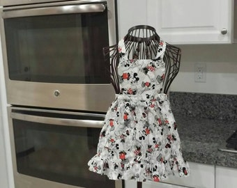 Girls Mickey and Minnie apron.
