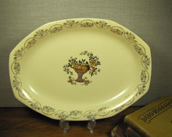 Homer Laughlin Second Selection Small Serving Platter - Fruit Basket - Gold Accent