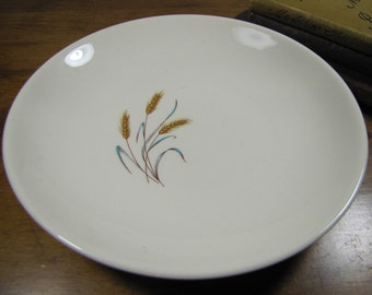 Salem China Co - Shallow Bowl - Gold Wheat With Blue and Gray Leaf Pattern