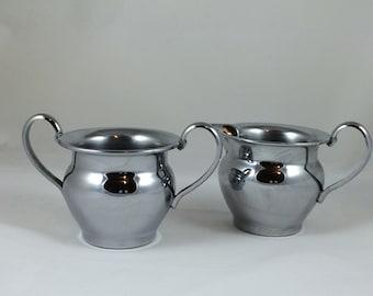 Vintage Farberware Chrome Creamer Cream & Sugar Bowls Metal New York, NY