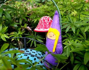 Sweet Little Purple Girl Gnome