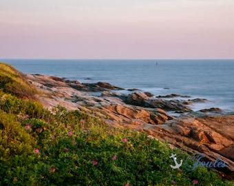 Beavertail State Park, Jamestown, Rhode Island, Lighthouse, New England, Ocean, Coastal, Seascape, Art, Photograph, Beach Roses, Sunset