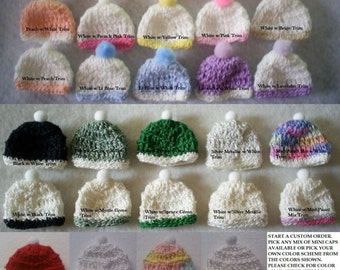 12 Crochet Miniature Baby Hats/Caps With Pom Poms - Baby Shower Favors - Boy or Girl