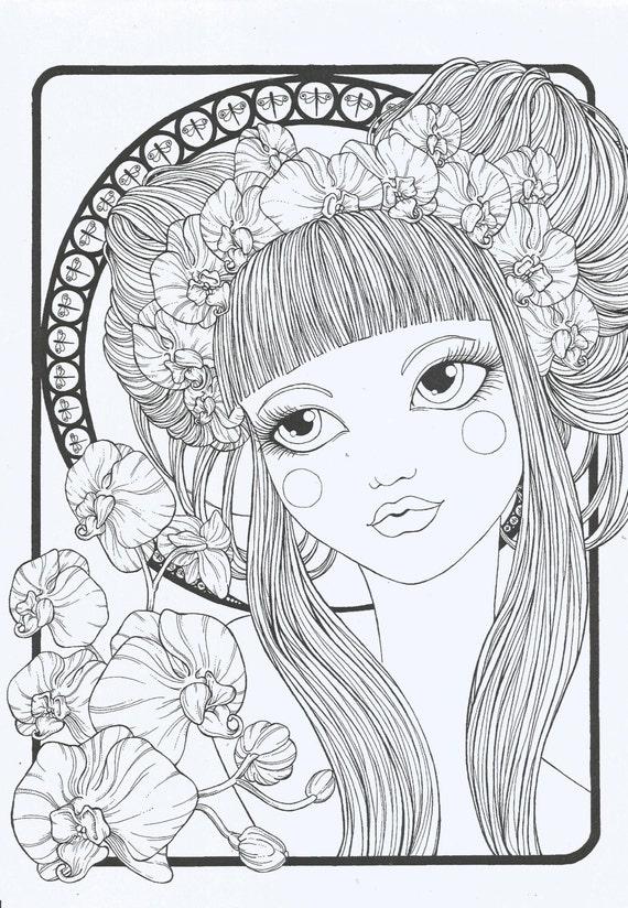 articoli simili a coloring book quotfloral girlsquot su etsy