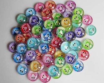 10 Owls Mixed Round Glass Cabochons 10mm (034)