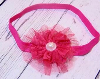 3 inch Baby Girl and Girls hot pink/fuschia lace flower Headband