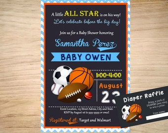 All Star Sports Baby Shower Invitation - Sports Invitation - Sports Birthday Invitation - Free Diaper Raffle Card Included