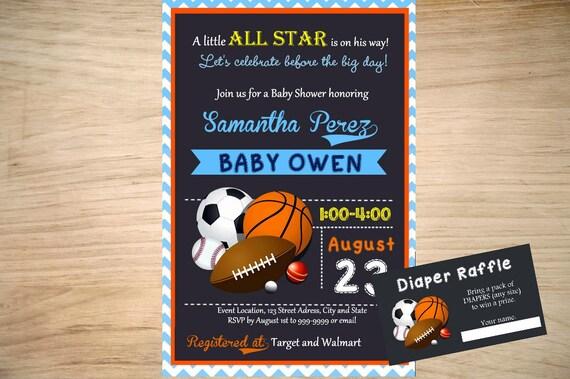 all star sports baby shower invitation sports invitation sports