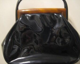 VTG Black Patent Leather Bag with Lucite Trim