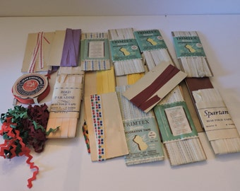 Vintage Lot of decorative trim zippers snaps seam tape 1970s Notions buttons