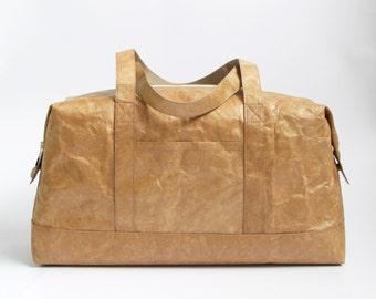 Minimalist Tyvek Paper Boston Bag, Lightweight Boston Bag / Overnight Bag / Duffel Bag / Sports Bag, Personalized Tyvek Paper Boston Bag