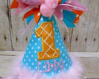 Girl Birthday Hat, Party Hat, Customize Birthday Hat, 1st Birthday Hat, First Birthday Hat, Girl Party Hat, Baby Girl 1st Birthday