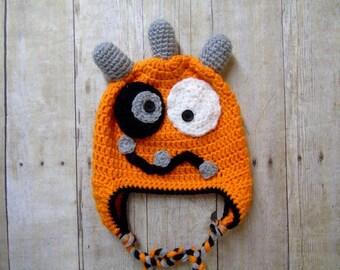 Baby Monster Hat, Newborn Monster Hat, Infant Monster Hat, Monster Hat, Monster Photo Prop, Newborn Photo Prop, Crochet Monster Hat