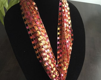 Pink, Orange & Yellow Ladder Yarn Necklace