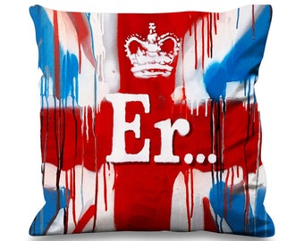 Banksy ER Union Jack Faux Silk 45cm x 45cm Sofa Cushion