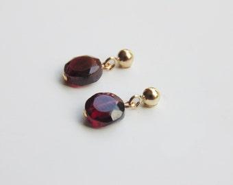 Small red purple faceted garnet gemstone 14k gold filled drop dangle stud earrings