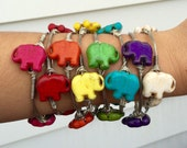 Sale! The Safari, Gold or Silver Wire Wrapped Elephant Beaded Bangle Bauble Bracelet 8 COLORS!
