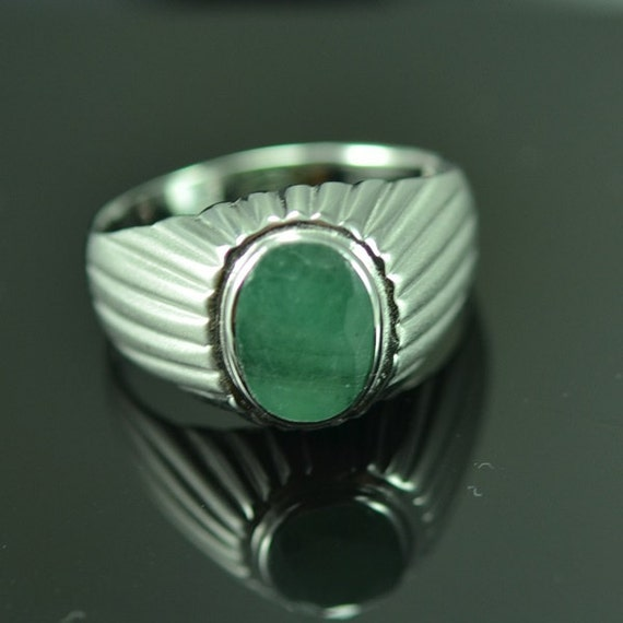 Sterling Silver Natural Emerald Men Ring Vintage by ZeynepGems