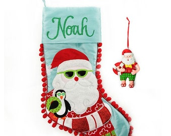 Personalised Beach Santa Stocking and Decoration Pack