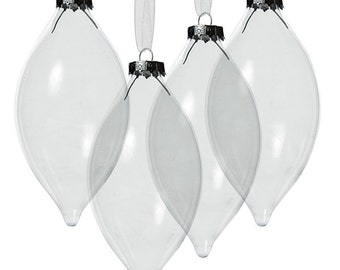 Clear Glass Craft Teardrop Bauble - Set of 4