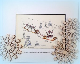 ORIGINAL whimsical painting, winter scene, gift, watercolor/India ink 5x7 paper, small painting, gift under 50, winter painting, whimsical