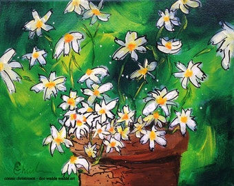 """ORIGINAL whimsical painting, flower painting, daisy painting, acrylic painting, small art, flowers, 10""""x8"""", gardening, floral painting"""