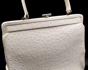 White ostrich leather handbag, leather shoulder bag, white leather purse, 1950s vintage handbag,  white pocketbook, wedding, bridal purse