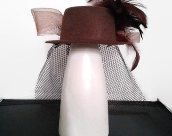 Fascinator Wedding Hat Mini Top Hat Vintage Style Feathers Satin Net Chocolate Brown Handmade Races Cruise