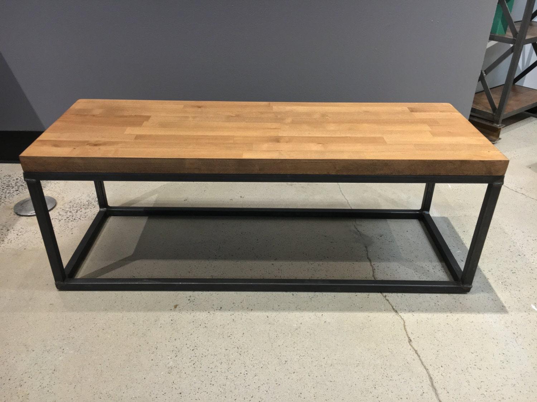 The Torkel Coffee Table Steel Legs Butcher Block Wood Top
