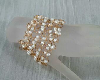 Copper Wire Knitted Freshwater Pearl Cuff Bracelet in White, Wide Pearl Cuff Bracelet