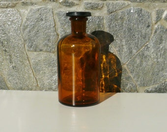 Antique medical DROP ANAESTHESIA amber glass bottle