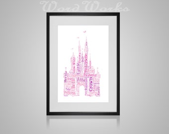 "Personalised Disney Castle Word Art **Buy 3 prints get the 4th FREE**  Use coupon code "" MYFREEONE """