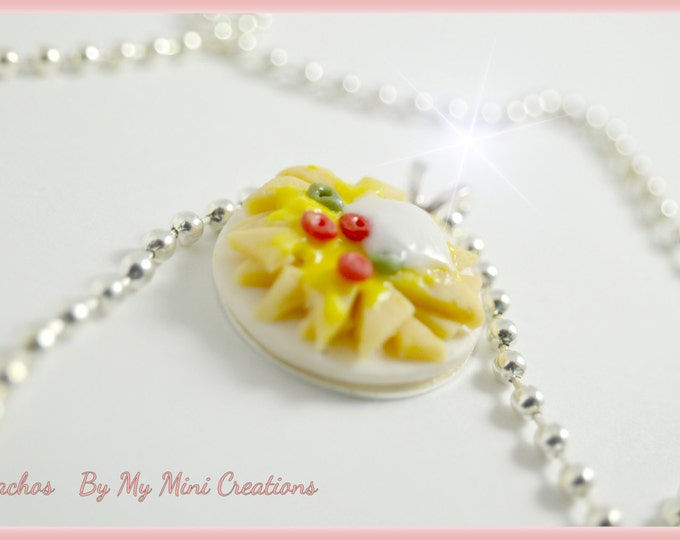 Nacho cheese necklace, Miniature food, miniature food jewelry, food jewelry