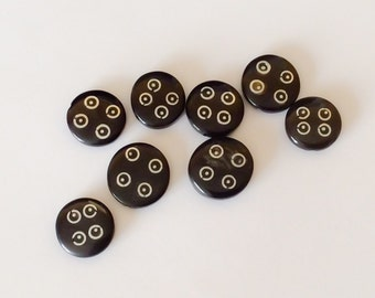 8 Black horn beads, vintage black horn inlaid beads, black horn w/ silver inlay coin beads